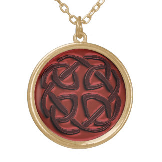 Burnt Orange and Brown Celtic Knot Necklace
