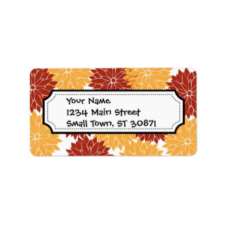 Burnt Orange and Orange Flower Blossoms Floral Address Label