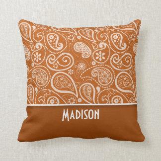 Burnt Orange Paisley; Floral Cushion