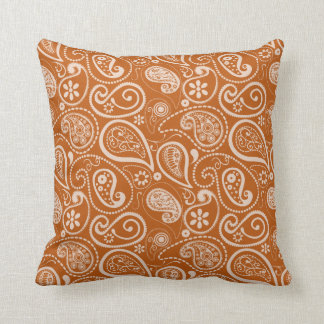 Burnt Orange Paisley; Floral Throw Pillows