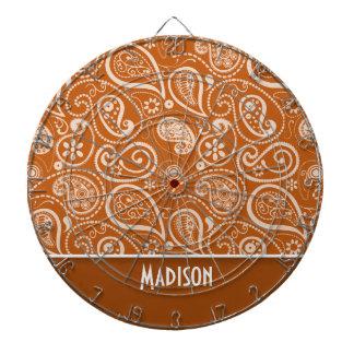 Burnt Orange Paisley; Floral Dartboard