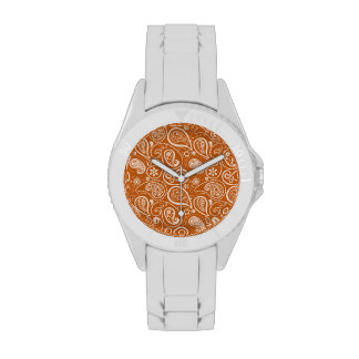 Burnt Orange Paisley Floral Watches