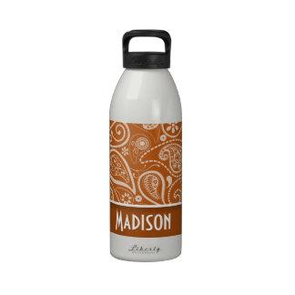 Burnt Orange Paisley; Floral Water Bottles