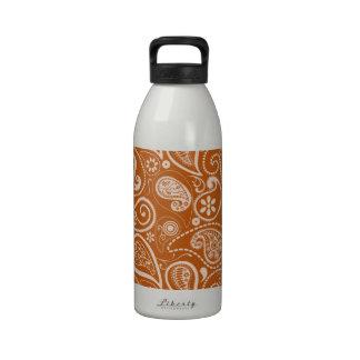 Burnt Orange Paisley; Floral Water Bottle