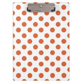 Burnt orange polka dots clipboards