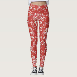 Burnt Red and White Damask Leggings
