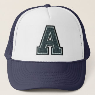 Burnt Teal Letter A Initial Trucker Hat
