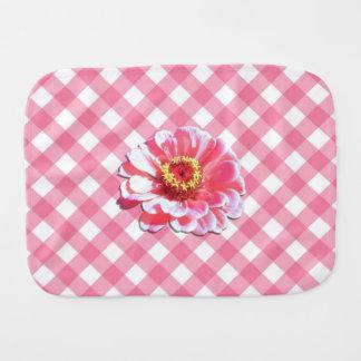 Burp Cloth - Pink Zinnia on Lattice