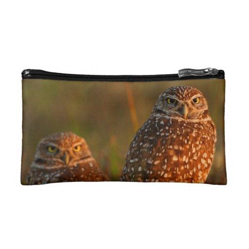 burrowing owl couple cosmetic bag