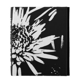Bursting Joy l Black and White Floral Abstract iPad Cases