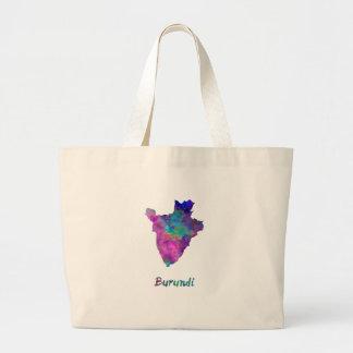 Burundi in watercolor large tote bag