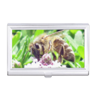 Bus. Card Holder - Honey Bee on Clover Business Card Holders