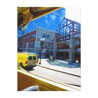 """Bus Window Photos Boston 18"""" x 24"""" Wrapped Canvas"""