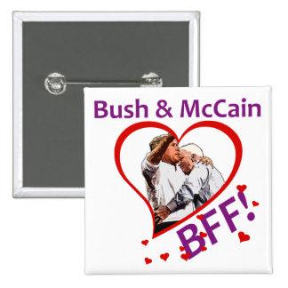 Bush & McCain: BFF! Square Button