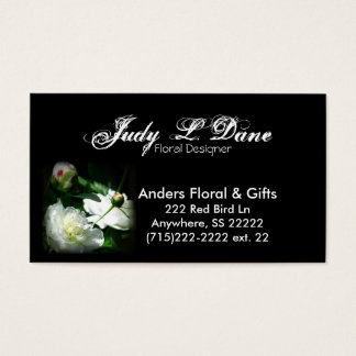 business card--floral peony, black background business card