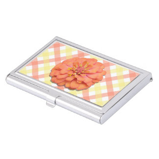 Business Card Holder - Tequila Sunrise Zinnia Lat