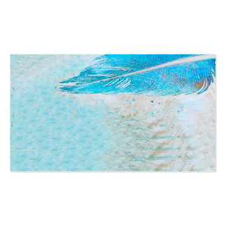 business card template blue feather
