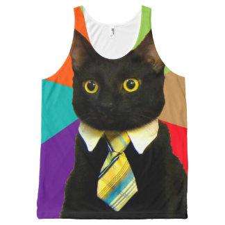 business cat - black cat All-Over print tank top