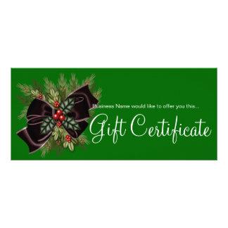 Business Gift Certificate Mistletoe & Dark Red Bow Rack Card Design