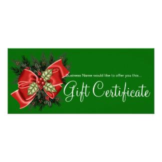 Business Gift Certificate Mistletoe & Red Bow Rack Card