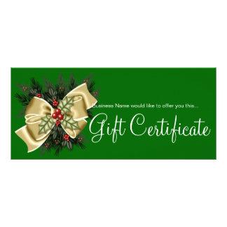 Business Gift Certificate Mistletoe & Tan Bow Custom Rack Cards