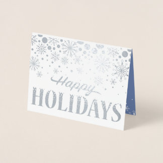 Business Holiday Card of Silver Foil Snowflakes