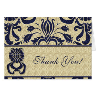 Business Logo Thank You Indigo Swirls Navy Taupe Note Card