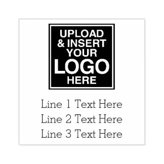 Business Logo with 3 Lines of Text Rubber Stamp