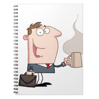 Business man with a cup of coffee notebook