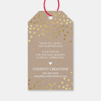 BUSINESS PACKAGING TAG gold confetti spots kraft