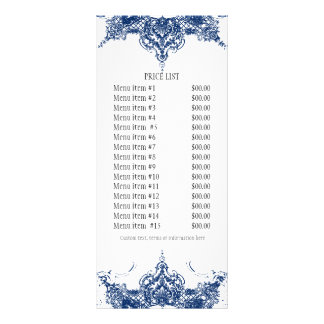 Business Rate Card - Toile Damask Swirl Floral Personalised Rack Card