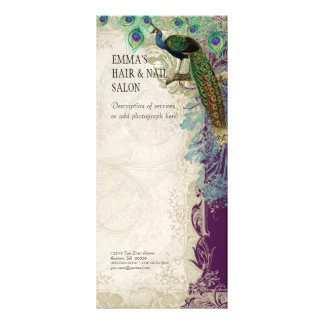 Business Rate Card Vintage Baroque Peacock Feather Rack Card Template