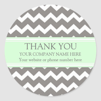 Business Thank You Company Name Mint Gray Chevron Classic Round Sticker