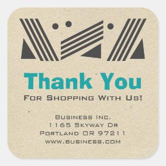 Business Thank You Vintage Paper Design Blue Square Sticker