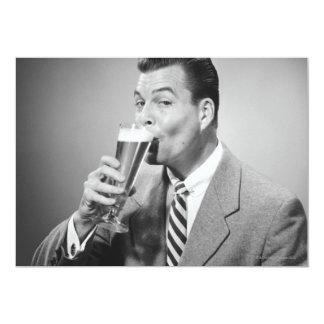 "Businessman Drinking Beer 5"" X 7"" Invitation Card"