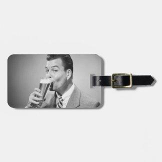 Businessman Drinking Beer Luggage Tag