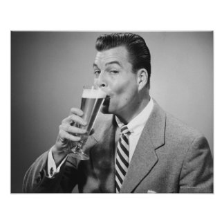 Businessman Drinking Beer Posters