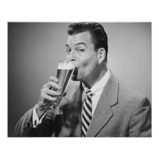 Businessman Drinking Beer Poster