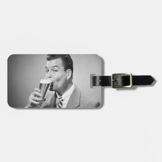 Businessman Drinking Beer Travel Bag Tags