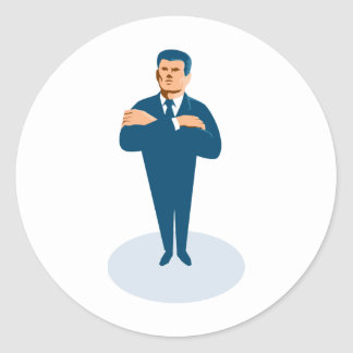 businessman secret agent arms crossed classic round sticker