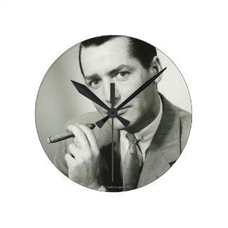 Businessman Smoking Cigar Wallclock