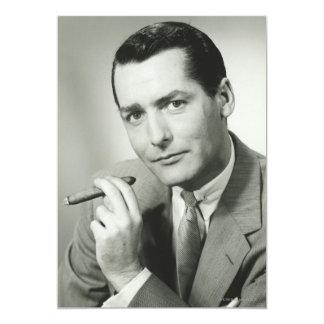 "Businessman Smoking Cigar 5"" X 7"" Invitation Card"