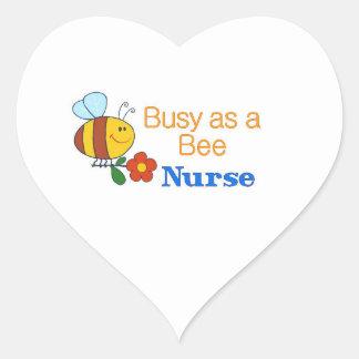 Busy Bee Nurse Heart Sticker
