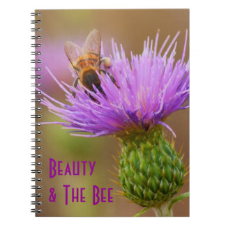 Busy Bee On Purple Thistle Flower Photograph Notebook