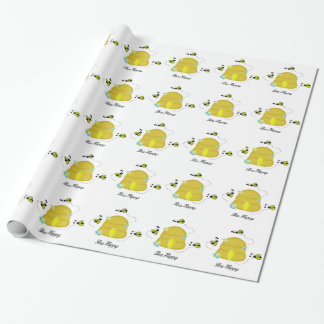 Busy Bees and Their Beehives Wrapping Paper