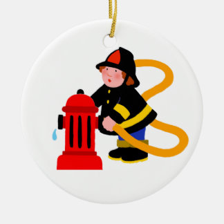 Busy Firefighter Christmas Ornament