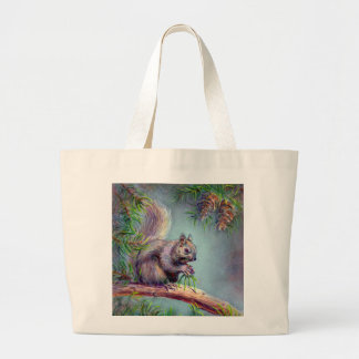 BUSY SQUIRREL by SHARON SHARPE Large Tote Bag