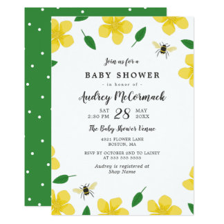 Buttercups & Bees - Floral Baby Shower Card