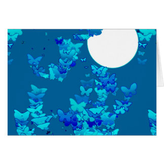Butterflies against blue night sky, moonscape greeting card