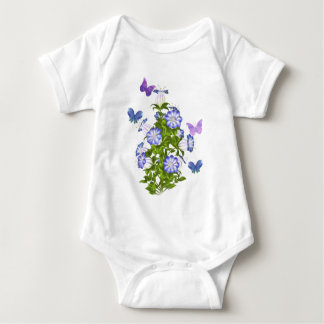 Butterflies and Bell Flowers Baby Bodysuit